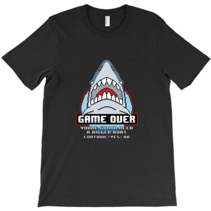 Game Over Shark T-shirt Designed By Mathers