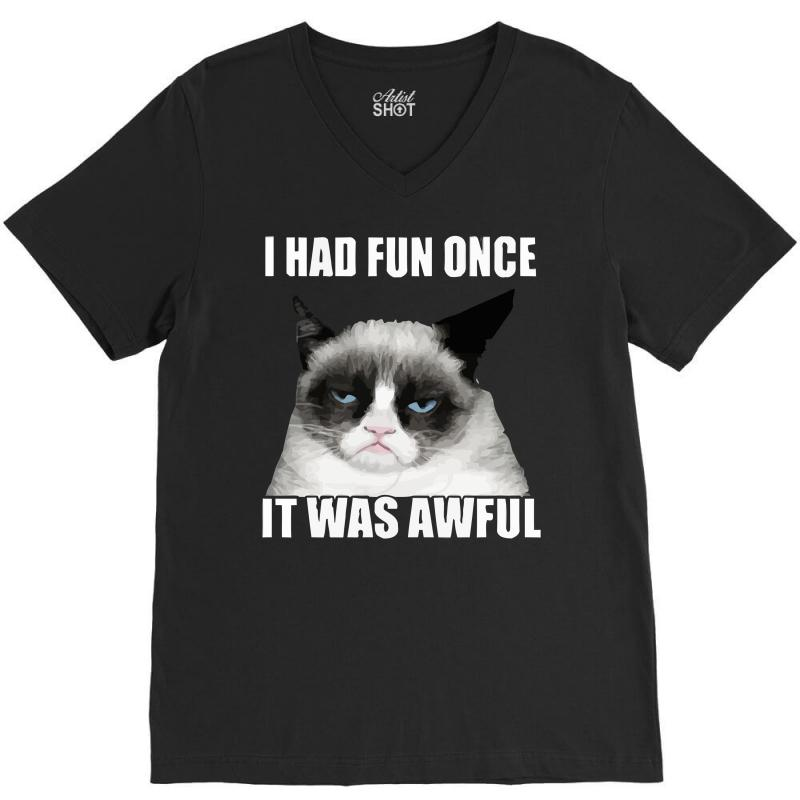 Grumpy Cat I Had Fun Once It Was Awful V-neck Tee | Artistshot