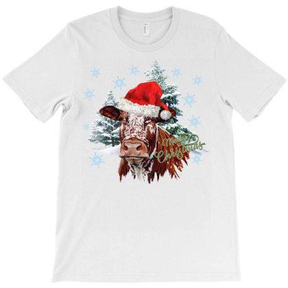 Christmas Cow T-shirt Designed By Badaudesign