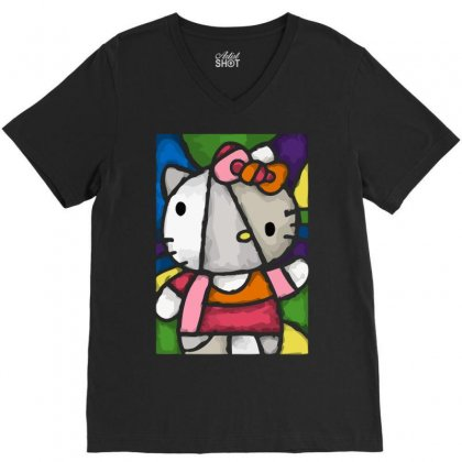 Hello Picasso Kitty V-neck Tee Designed By Mdk Art
