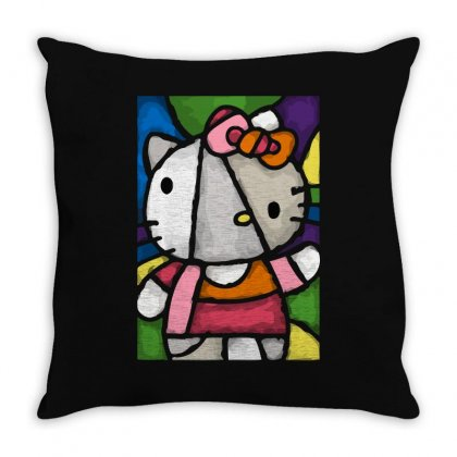 Hello Picasso Kitty Throw Pillow Designed By Mdk Art