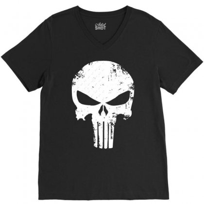 The Punisher Skull V-neck Tee Designed By Constan002