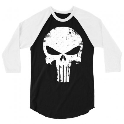 The Punisher Skull 3/4 Sleeve Shirt Designed By Constan002