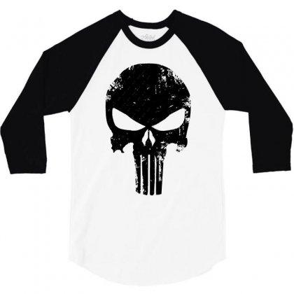 The Punisher Skull Black 3/4 Sleeve Shirt Designed By Constan002