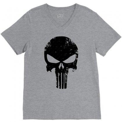 The Punisher Skull Black V-neck Tee Designed By Constan002