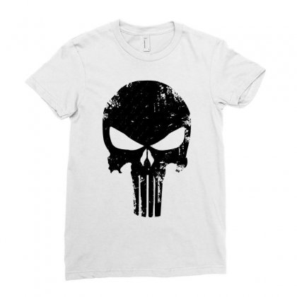 The Punisher Skull Black Ladies Fitted T-shirt Designed By Constan002