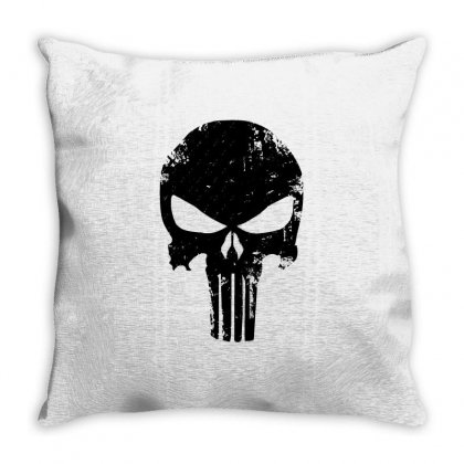 The Punisher Skull Black Throw Pillow Designed By Constan002