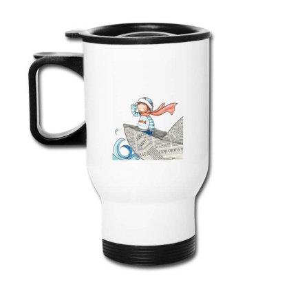 Girl On Newspaper Boat Travel Mug Designed By Coşkun