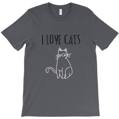 I Love Cats T-shirt Designed By Manyprints