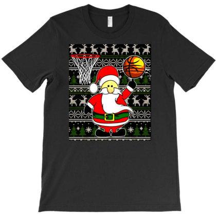 Santa Basketball Dunk Christmas Pattern Baseketball T-shirt Designed By Blackfire
