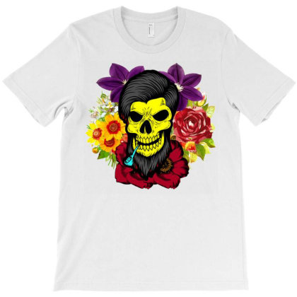 Skull Smoking Pipe And Colorred Flowers T-shirt Designed By Blackfire