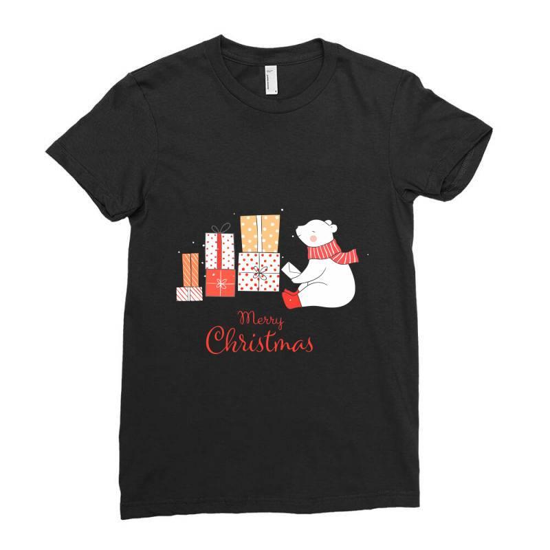 Christmas Bear Ladies Fitted T-shirt | Artistshot