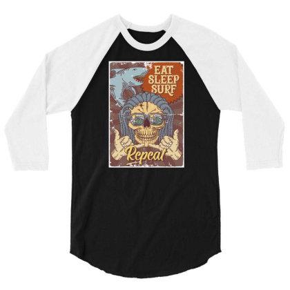 Shark, Skull And Hand Gesture 3/4 Sleeve Shirt Designed By Wiraart