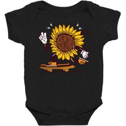 skater sunflower skateboarding Baby Bodysuit | Artistshot