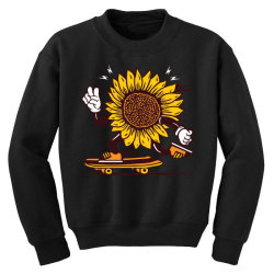 skater sunflower skateboarding Youth Sweatshirt | Artistshot
