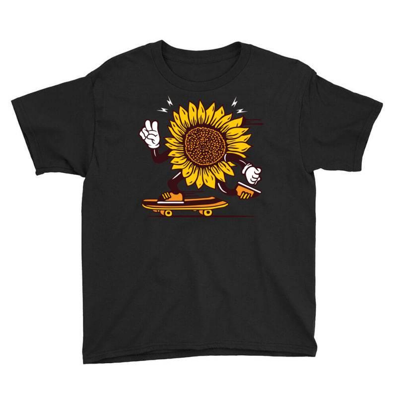 Skater Sunflower Skateboarding Youth Tee | Artistshot