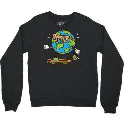 skater skateboard earth globe Crewneck Sweatshirt | Artistshot