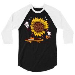 skater sunflower skateboarding 3/4 Sleeve Shirt | Artistshot