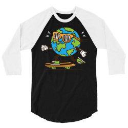 skater skateboard earth globe 3/4 Sleeve Shirt | Artistshot
