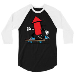 skater skateboard fireworks 3/4 Sleeve Shirt | Artistshot