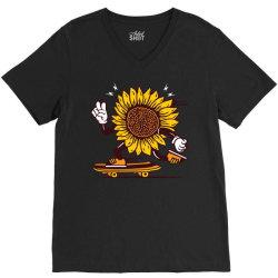 skater sunflower skateboarding V-Neck Tee | Artistshot