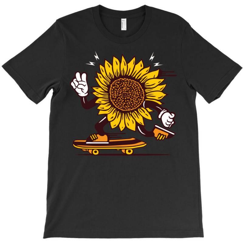 Skater Sunflower Skateboarding T-shirt | Artistshot