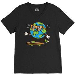 skater skateboard earth globe V-Neck Tee | Artistshot