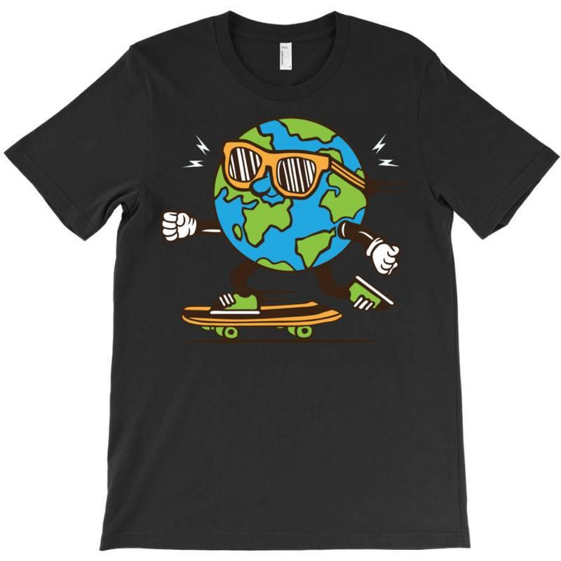 Skater Skateboard Earth Globe T-shirt | Artistshot