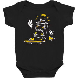 skater whiskey bottle skateboarding Baby Bodysuit | Artistshot