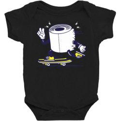 skater tissue roll toilet paper skateboarding Baby Bodysuit | Artistshot