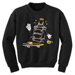 skater whiskey bottle skateboarding Youth Sweatshirt | Artistshot
