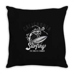skeleton on surfing board 3 Throw Pillow | Artistshot