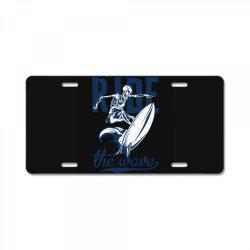 skeleton on surfing board 1 License Plate | Artistshot