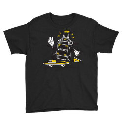 skater whiskey bottle skateboarding Youth Tee | Artistshot