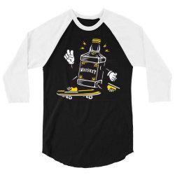 skater whiskey bottle skateboarding 3/4 Sleeve Shirt   Artistshot
