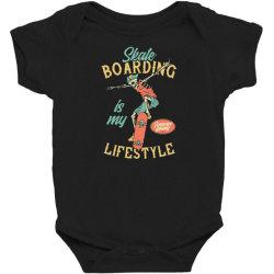 skeleton on the skateboard Baby Bodysuit   Artistshot