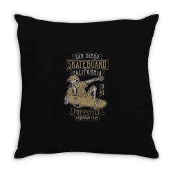 skeleton on the skateboard 5 Throw Pillow | Artistshot