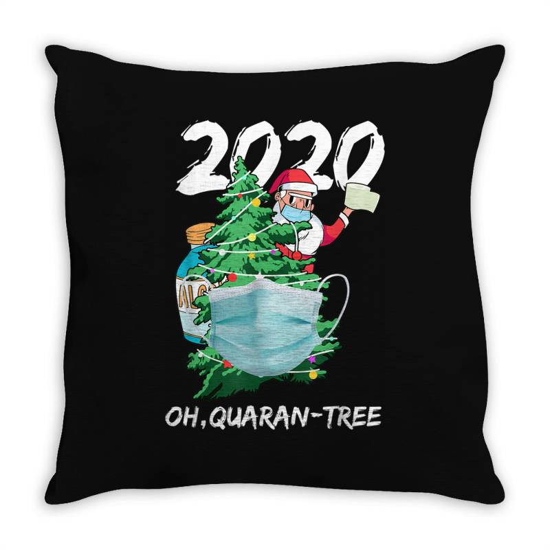 2020 Quarantine Christmas Santa Face Mask Throw Pillow | Artistshot
