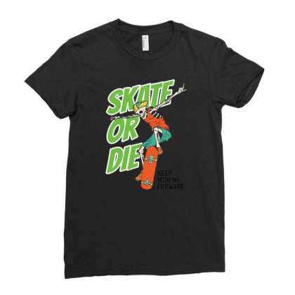Skeleton On The Skateboard 4 Ladies Fitted T-shirt Designed By Wiraart