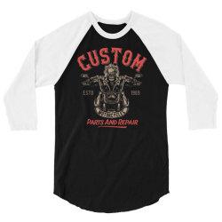 skeleton riding on the motorcycle 3 3/4 Sleeve Shirt | Artistshot