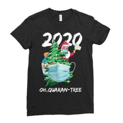 2020 Quarantine Christmas Santa Face Mask Ladies Fitted T-shirt Designed By Koopshawneen