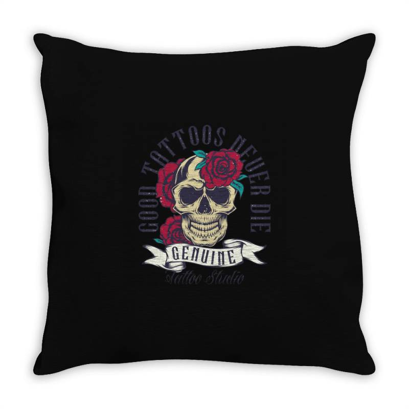 Skull And Roses Throw Pillow   Artistshot