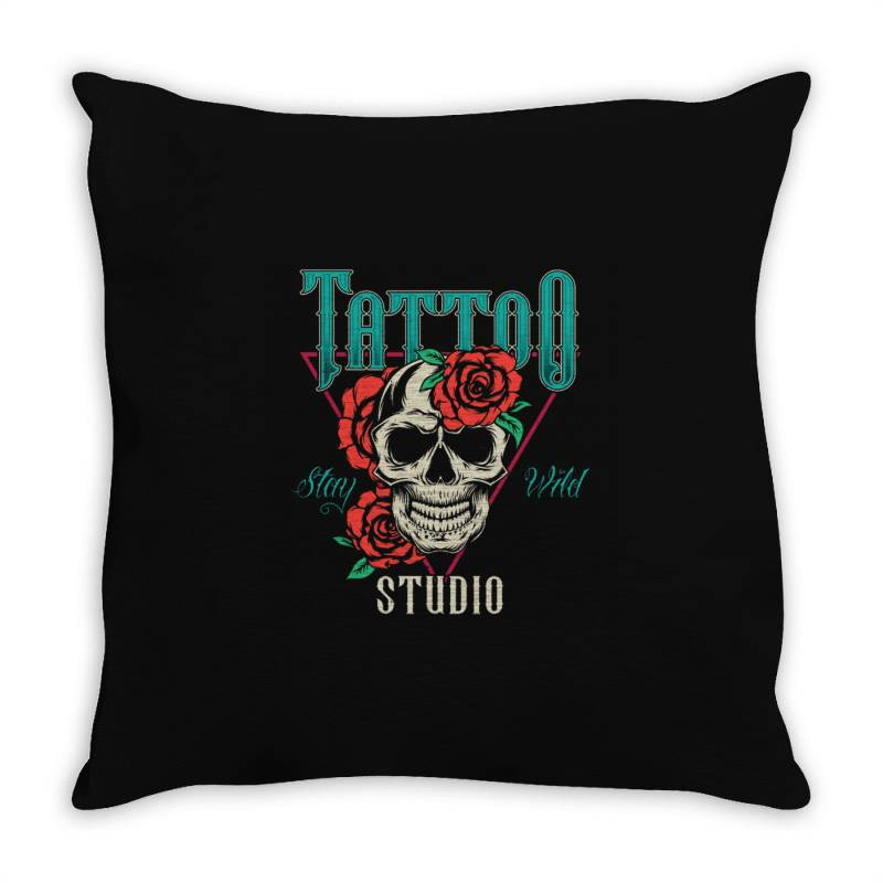 Skull And Flowers Throw Pillow | Artistshot