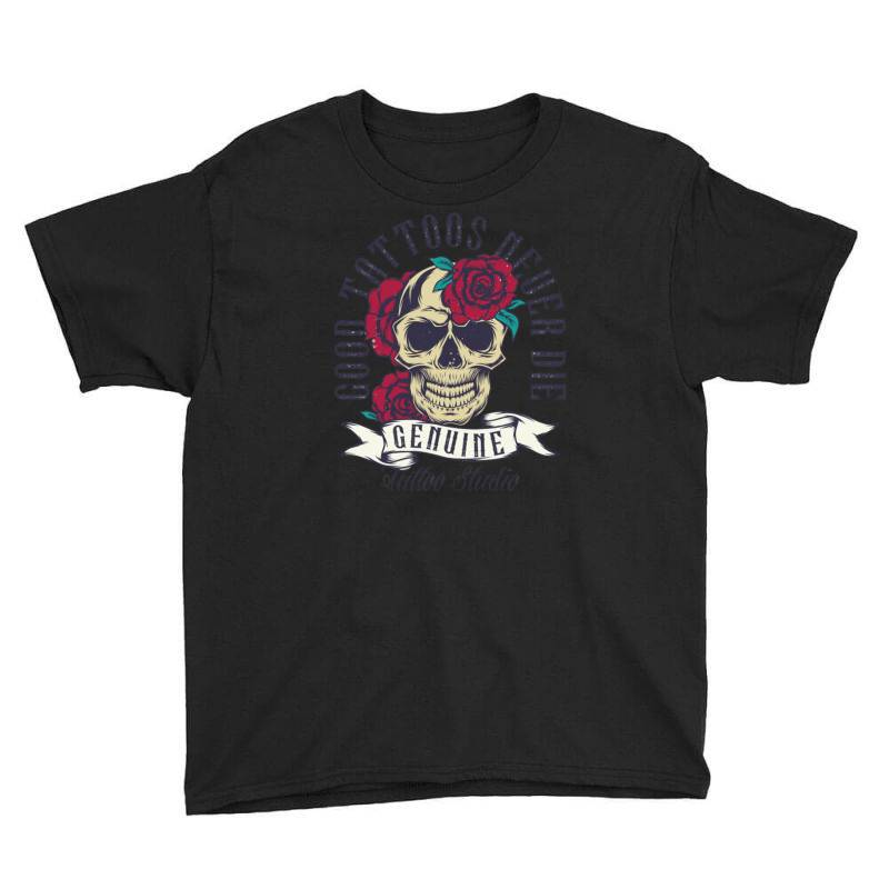 Skull And Roses Youth Tee | Artistshot