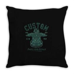 skeleton riding on the motorcycle Throw Pillow | Artistshot