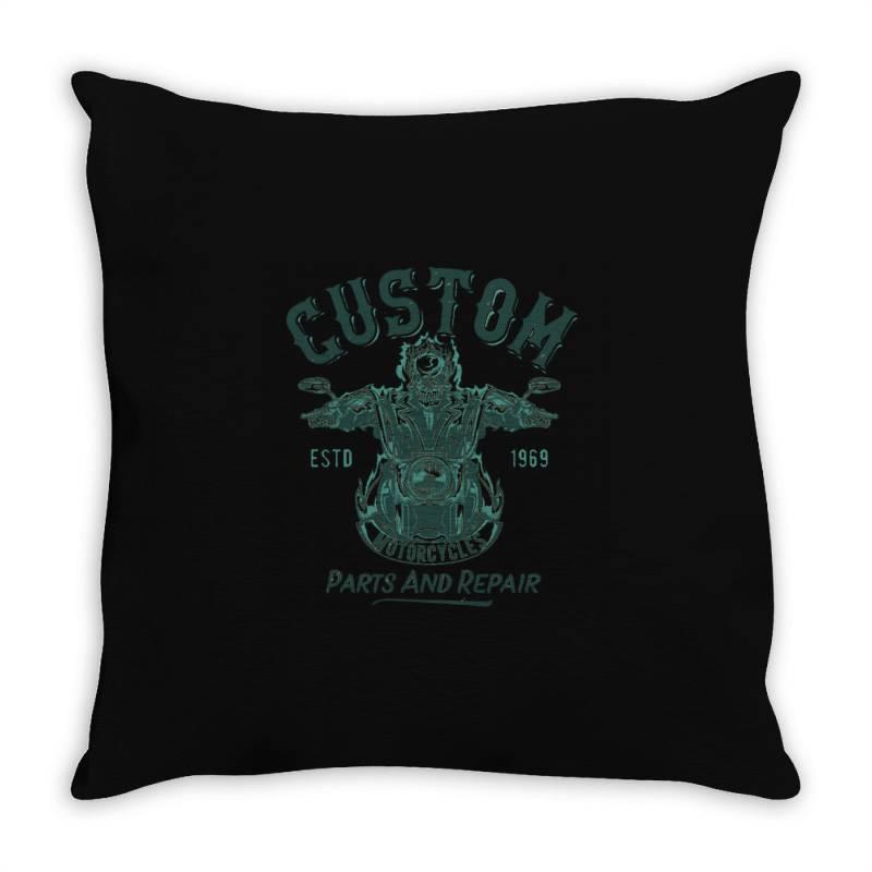Skeleton Riding On The Motorcycle Throw Pillow   Artistshot