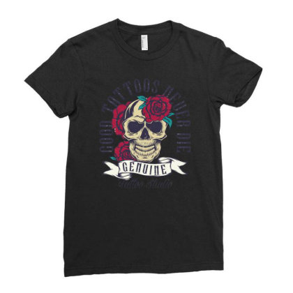 Skull And Roses Ladies Fitted T-shirt Designed By Wiraart
