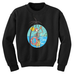 skull drink on the beach with sunset Youth Sweatshirt | Artistshot