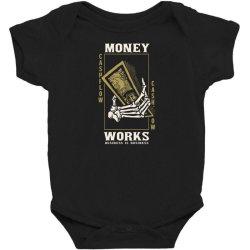 skull hand holding money Baby Bodysuit | Artistshot