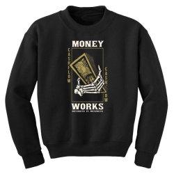 skull hand holding money Youth Sweatshirt | Artistshot
